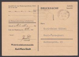 """""""Gebühr Bezahlt"""", Vorladung Wehrkreiskommando """"Karl-Marx-Stadt"""", 2.3.65 - DDR"""