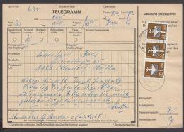 2868, Portoger. MeF Mit 3 Werten Auf Telegramm, 15.4.87 - DDR