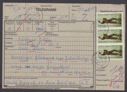 """2875, Portoger. MeF Mit 3 Werten, Telegramm """"Riesa"""", 5.2.88 - DDR"""