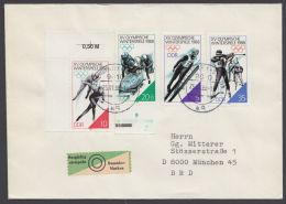"3140/3 ""Olympiade Calgary"", Satzbrief, Dabei Plattenfehler 3143 I - DDR"