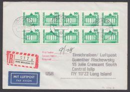 3346, MeF Mit 2 5er Streifen Aus Rolle Auf R-Luftpost In Die USA, Unbeanstandet, Da Marken Int. Nicht Zugelassen - DDR