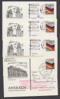 "Postkrieg : 1265, 4 Dek. Karten ""Ansbach"" In Die DDR, Versch. Vermerke/Stempel Etc. - BRD"