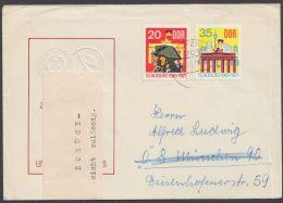 """Postkrieg : 1691/2 """"13.August 1961"""", Brief Mit """"zurück""""-Zettel - DDR"""