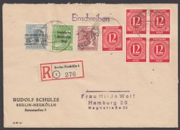 "MiF ""Handstempel/Gem.Ausgaben/All.Besetzung"", R-Brief ""Berlin-Neukölln"", 12.7.48 Mit Ankunft - Berlin (West)"