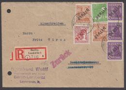 """2,4,9,31, MiF """"Rot-Schwarzaufdruck"""", Bedarfs-Orts-R-Brief, """"zurück"""", Aktenlochung, Rückklappe Fehlt - Berlin (West)"""