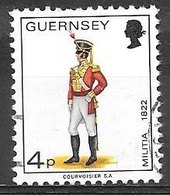 1974 4p Militia, Officer, East Regt, 1822, Used - Guernsey