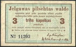 """Latvia Latvija Jelgava Mitau 3 Kopeiks 1915 """"Series:11203"""" VF+ BANKNOTE - Latvia"""