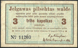 "Latvia Latvija Jelgava Mitau 3 Kopeiks 1915 ""Series:11203"" VF+ BANKNOTE - Lettonie"