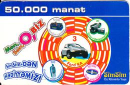AZERBAIJAN - Ford Ka, Azercell Prepaid Card 50000 Manat, Used - Azerbaigian