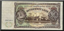 LATVIA  20 LATU 1935 PICK#30a VF++ Super CLEAN - Latvia
