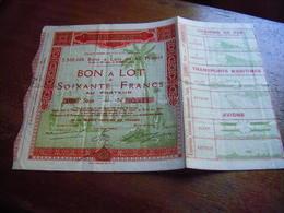 ACTION EXPOSITION COLONIALE INTERNATIONALE PARIS 1931 BON A LOT DE 60 FRANCS AU PORTEUR - Afrique
