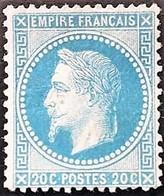 POSTE FRANCE Y&T N°29A Napoléon  20c Bleu Neuf* - 1863-1870 Napoléon III Lauré