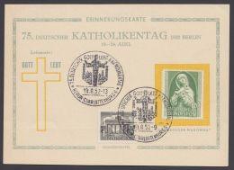 "151,  Mit Zusatzfr. Auf Sonderkarte ""Katholikentag 1952"", Pass. Sst. - BRD"