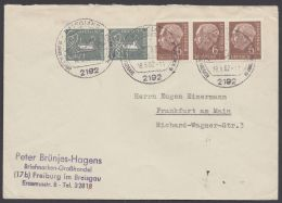 """180, """"Heuß"""", Waag. 3er Streifen Mit Zusatzfrankatur - BRD"""