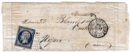 Lettre 1856 Bernay Eure Pour Noyon Oise - 1853-1860 Napoleon III