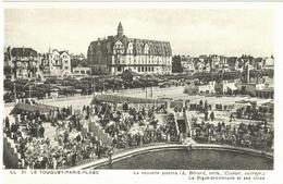 LOT 2 CPA LE TOUQUET-PARIS-PLAGE  (PAS-DE-CALAIS)  LA PISCINE, LA DIGUE-PROMENADE ET SES VILLAS . L'EGLISE JEANNE D'ARC - Le Touquet