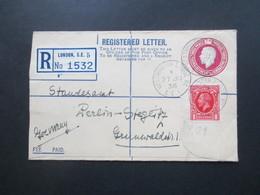 GB 1936 Registered Letter Mit Zusatzfrankatur Nach Berlin Steglitz Standesamt. Stempel Westminster Bridge - Briefe U. Dokumente