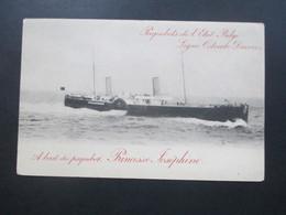 Belgien Um 1900 Privatganzsache PP Paquebots De L`Etat Belge. Paquebot Princesse Josephine - 1893-1900 Schmaler Bart