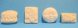 Fèves Anciennes Plates En Biscuit - Tambour, Marianne, Lune Et TGV - Frühe Figuren