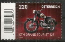 Moto Autrichienne  KTM GRAND TOURIST 125, Un Timbre Neuf ** D'Autriche, Avec Barcode   (Haute Faciale) - Motorbikes