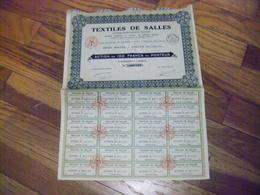ACTION TEXTILES DE SALLES ( DEUX SEVRES ) ANCIENS ETS  ROUGIER  100 F PORTEUR 1928 24 COUPONS PETREAULT NOTAIRE PAMPROUX - Industrie
