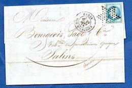 Lettre / De Paris / Pour Salins / 29 Janvier 1869 / Etoile N 4 - Postmark Collection (Covers)