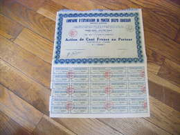 TRES RARE ACTION 1932 COMPAGNIE D'EXPLOITATION DU PROCEDE JOSEPH CHARTRAIN SIEGE CLERMONT FERRAND - Industrie