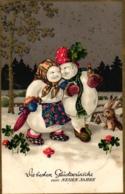 Neujahr, Schneemann Mit Frau, Ca. 30er Jahre - Nouvel An