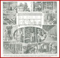 Huilerie, Illustration Maurice Dessertenne, Broyeur à Olives, Vieux Moulin, Extraction De L'huile Vierge...Larousse 1948 - Autres