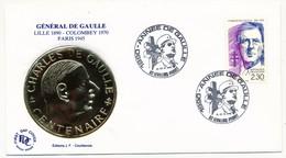 """FRANCE - Enveloppe - Cachet Temporaire """"1990 Année De Gaulle"""" - Levallois Perret  - 21/22.4.1990 - De Gaulle (General)"""