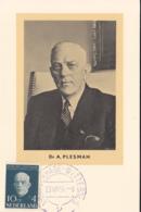 Netherlands 1954 Maxicard Scott #B270 10c + 4c Dr. Albert E. Plesman, KLM Airlines - Cartes-Maximum (CM)