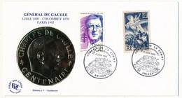 """FRANCE - Enveloppe - Cachet Temporaire """"Combats De La Somme - 50eme Anniversaire"""" - Amiens  - 3.6.1990 - De Gaulle (General)"""