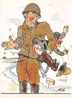 Militaire . 39/45.n° 46485. Hitler Prend Une Fessé.caricature. Illustrateur Asti.14x10.5 Cm. - Weltkrieg 1939-45