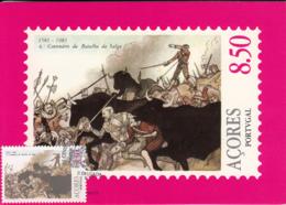 Azores 1981 Maxicard Scott #323 8.50e Bulls Attacking Spanish Battle Of Salga Valley - Açores