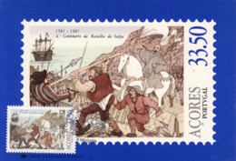 Azores 1981 Maxicard Scott #324 33.50e Friar Don Pedro Leading Citizens Battle Of Salga Valley - Açores