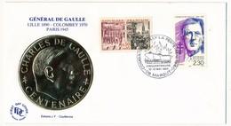 """FRANCE - Enveloppe - Cachet Temporaire """"Combats De Villy La Ferté - Cinquantenaire"""" - 08 MARGUT  - 12/13.6.1990 - De Gaulle (General)"""