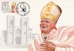 Portugal 1982 Maxicard Scott #1541 33.50e Pope John Paul II, Lisbon Cathedral - Cartes-maximum (CM)