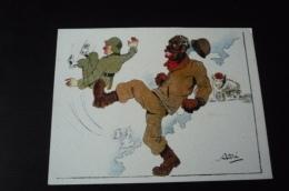 Militaire 39/45. N° 42158 .personne De Couleur Noire Donnant Un Coup De Pied A Un Soldat. Illustrateur Asti. 14x10.5 Cm. - Guerre 1939-45