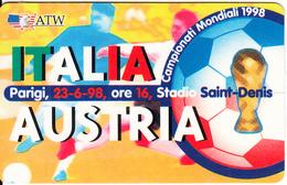 ITALY - 1998 FIFA World Cup, Italia Vs Austria, ATW Promotion Prepaid Card, Used - Sport