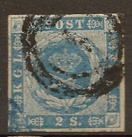 DENMARK 1854 2sk Blue SG 8 U #APT31 - Oblitérés