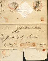 1831-prefilatelica Da Trieste A Venezia Disinfettata, Timbro Rosso Sanità Di Venezia Espurgata Entro E Fuori,sul Fronte - Documenti Storici