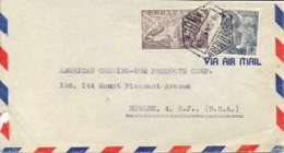 Spain 1947 Airmail Cover From Tanger (Spanish Morocco) To USA With 50 C. Airmail Stamp De La Cierva + 1 Pta. Franco - Spanish Morocco