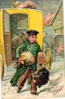 Neujahr, Postkutsche, Paketbote, Prägekarte, Um 1905 - Neujahr
