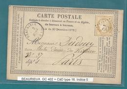 Aisne -  Beaurieux Pour Paris. GC 402 + CàD Type 16. Ecrite à Villers-en-Prayères - Marcophilie (Lettres)