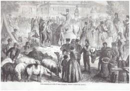 Gravure 1863 Espagne Foire Annuelle D ALCALA  (   De Henares ? ) Marche  Cohon - Vieux Papiers