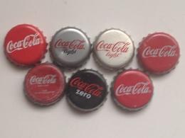 Lote 7 Chapas Kronkorken Caps Tappi Coca Cola. España - Chapas Y Tapas