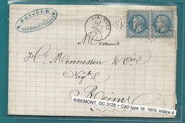 Aisne - Ribemont Pour Reims. GC 3128 + CàD Type 16 - Marcophilie (Lettres)