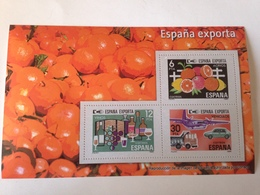 Hoja Bloque 3 Sellos España Exporta. Sin Circular. Reproducción Actual De Los Sellos Autorizada Y Hecha Por Correos - Blocs & Hojas
