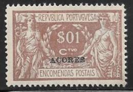 Azores, Scott # Q1 Mint Hinged Portugal Parcel Post Stamp Overprinted, 1921 - Açores