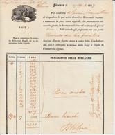 Da Firenze Per Livorno .  Per Condotta Di Giovanni Franciollini, Si Paga Per Il Porto 42 Lire Fiorentine 29 Aprile 1847 - Italie